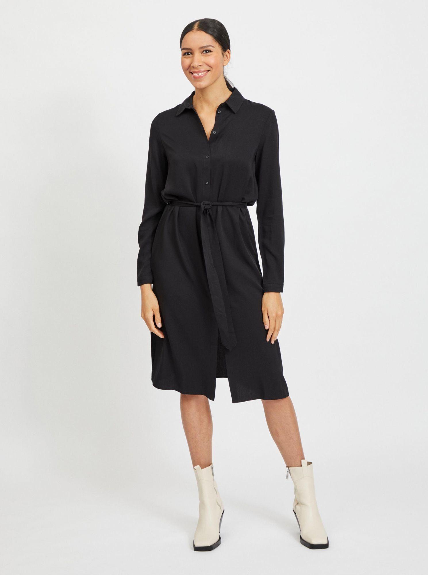 Vila czarna sukienka koszulowa