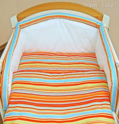 MAMO-TATO pościel 2-el Paseczki pomarańczowe do łóżeczka 70x140cm