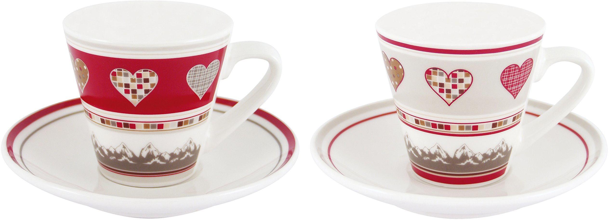 Générique 3015 Duo filiżanki espresso, serca, pudełko prezentowe, porcelana, wys. 6 x śr. 6 cm, ceramika, czerwona, szara, 19 x 13,5 x 6,5 cm