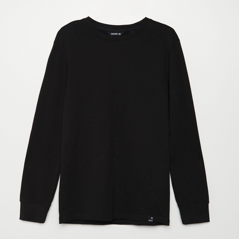 Cropp - Koszulka z długim rękawem basic - Czarny
