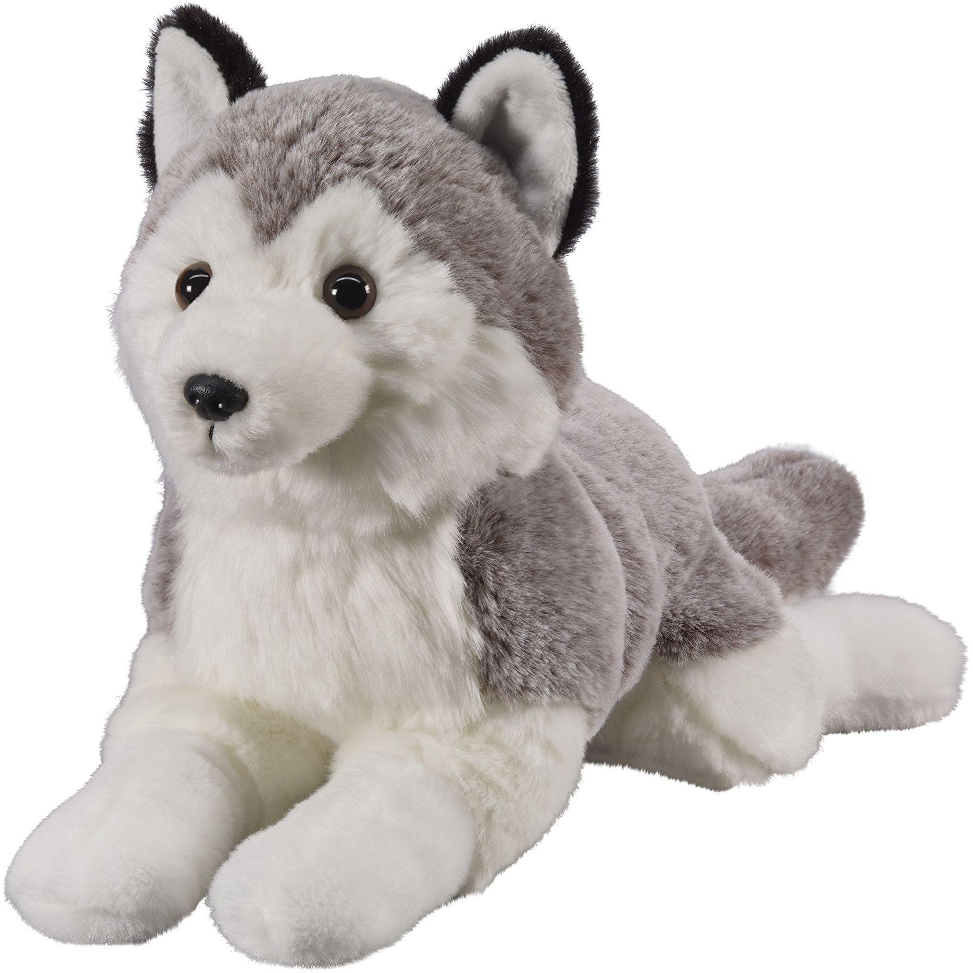 """Bauer Spielwaren """"Twoje zwierzęta z sercem"""" Husky w pozycji leżącej: Małe przytulanki do przytulania i miłości, idealne na prezent, 25 cm, szaro-biały (12513)"""
