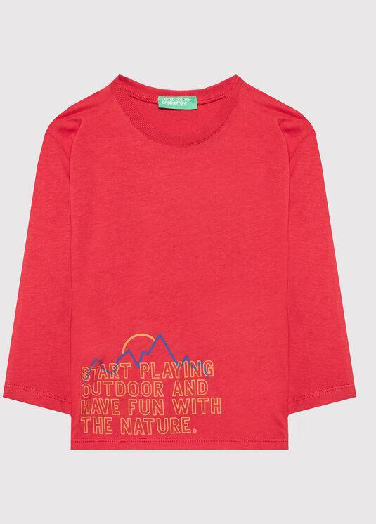 Bluzka 3ATNC15FE Czerwony Regular Fit