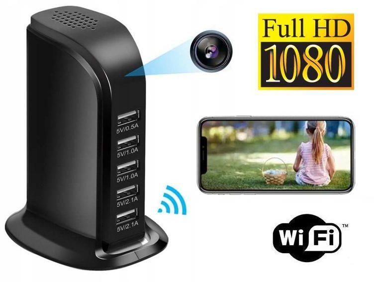 Szpiegowska Kamera FULL HD WiFi/P2P (zasięg cały świat!) Ukryta w Biurkowej Ładowarce USB + Zapis...