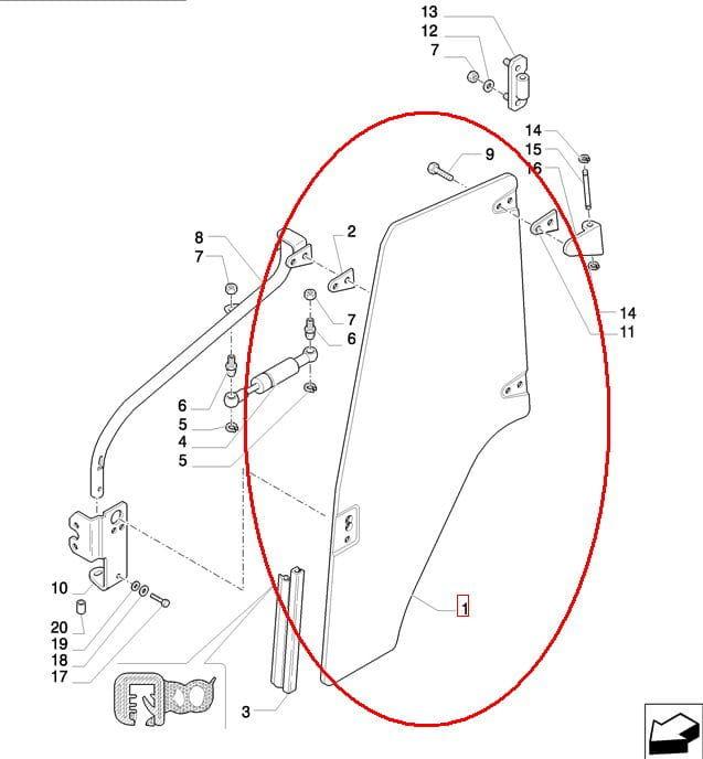SZYBA DRZWI PRAWA NEW HOLLAND CASE 87302768