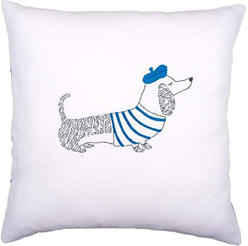 Vervaco poduszka do haftu: Pies Paryż, czesana bawełna, wielokolorowa, 40 x 12 x 20 cm