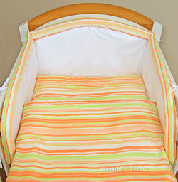 MAMO-TATO pościel 2-el Paseczki marchewkowe do łóżeczka 70x140cm