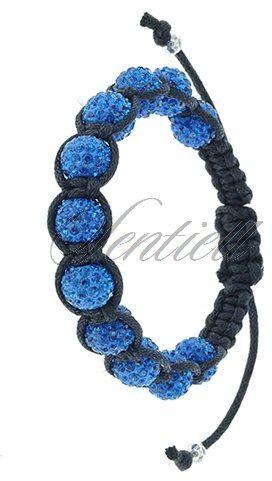 Bransoletka sznurkowa pr.925 niebieska 11 kulek