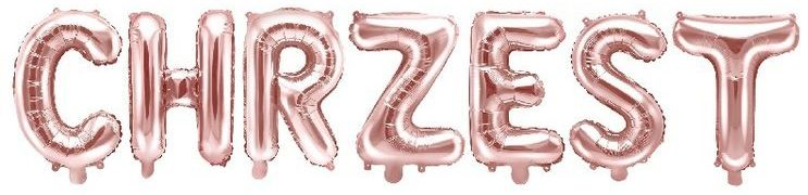 Balony foliowe napis CHRZEST rose gold 35cm FB2M-CHRZEST-019R
