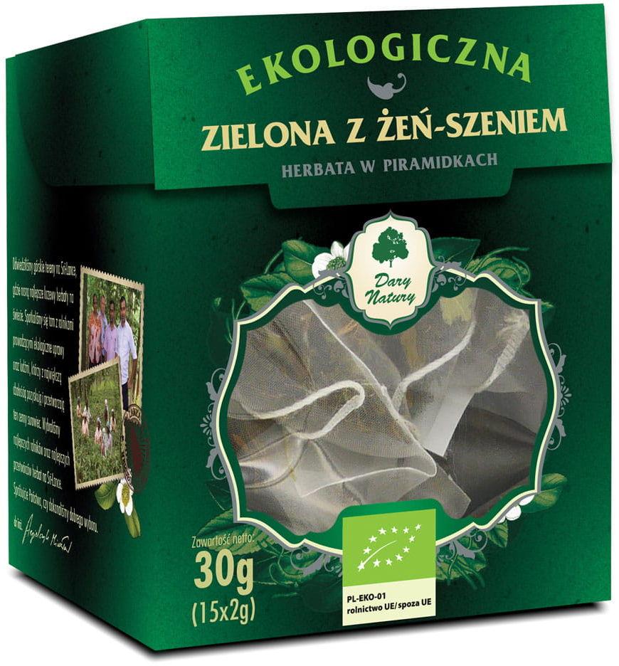 Herbata zielona z żeń-szeniem piramidki bio 15 x 2 g - dary natury