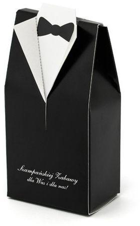 Pudełeczka dla gości weselnych Pan Młody frak z napisem 10 sztuk PUDP1-M