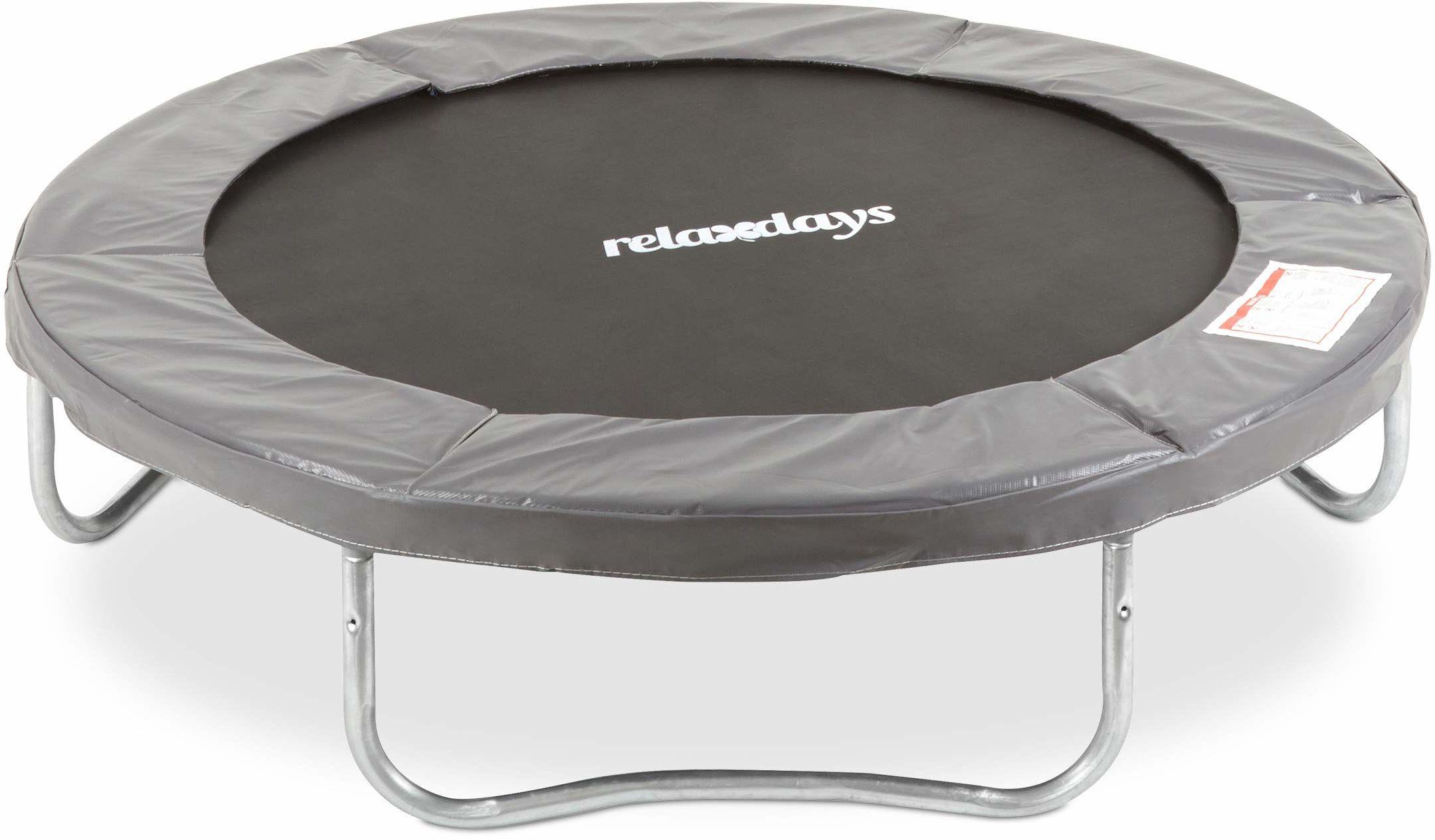 Relaxdays Unisex młodzieżowa, szara trampolina outdoorowa, trampolina ogrodowa dla dzieci i dorosłych, do 150 kg, ochronna osłona krawędzi, Ø 244 cm, 244 cm