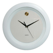 Zegar ścienny złota kropka biały
