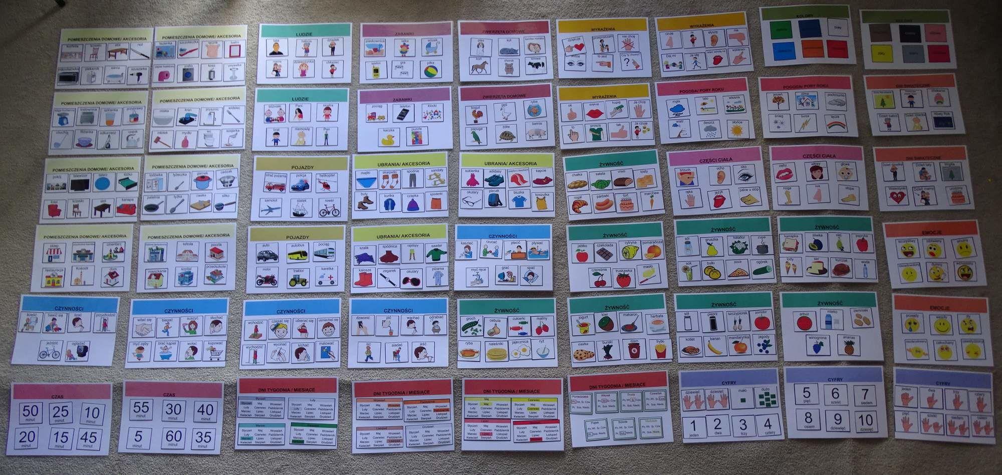 Mega zestaw piktogramów (obrazków tematycznych) wraz z 54 sztuk kart aktywności Mega zestaw piktogramów z kartami aktywności