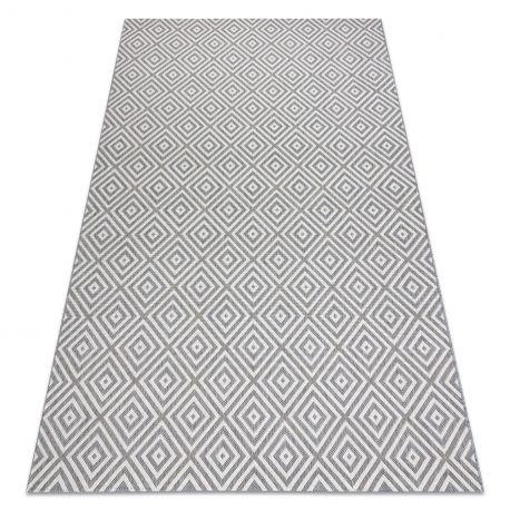 Dywan SZNURKOWY SIZAL FLAT 48607637 Kwadraty, romby szary / krem 80x150 cm