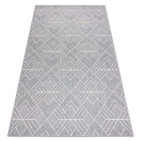Dywan SZNURKOWY SIZAL FLAT 48731637 Kwadraty, romby, geometryczny szary / krem 80x150 cm