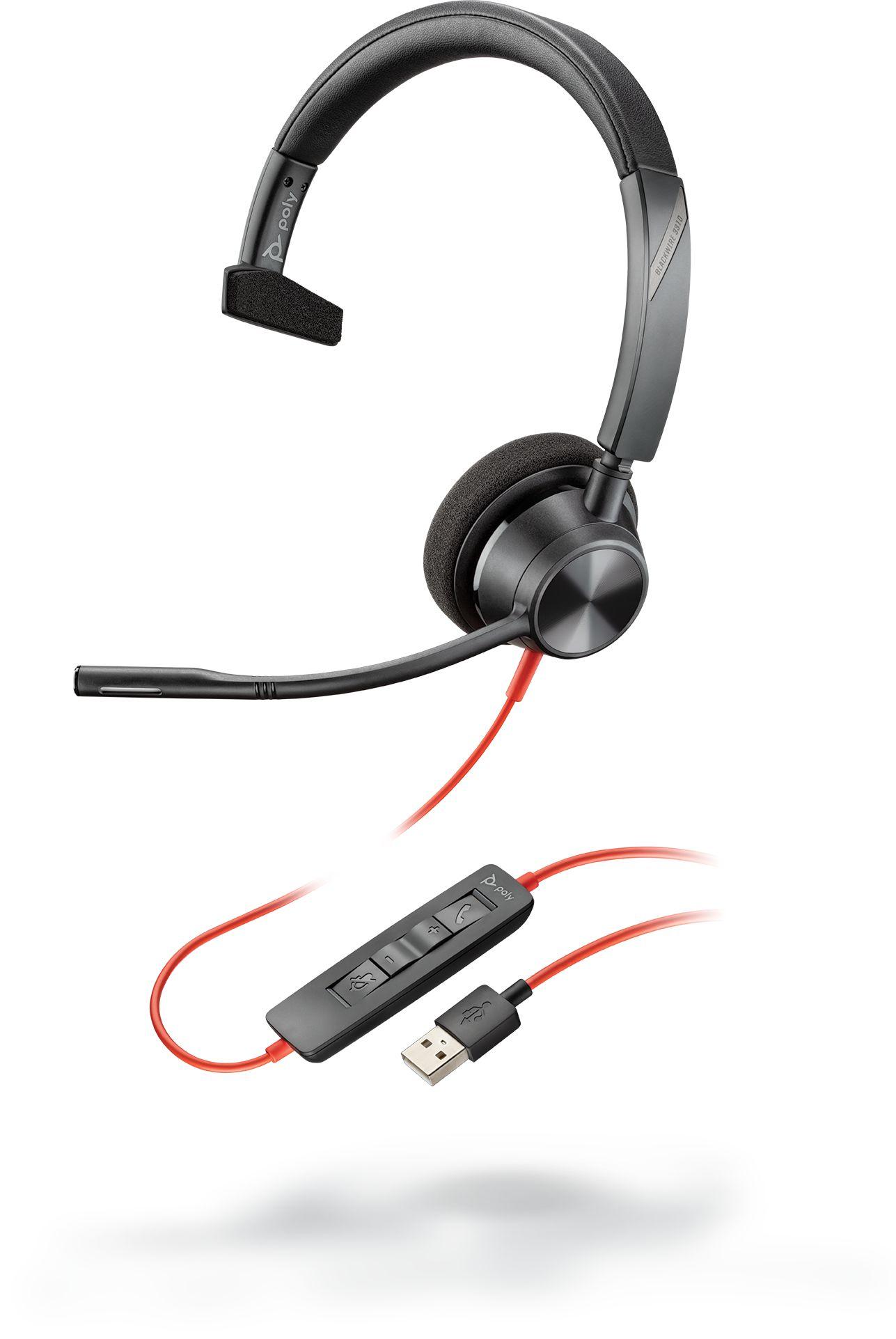 Plantronics Blackwire 3310 - przewodowy zestaw słuchawkowy UC Mono z wejściem USB-A-A
