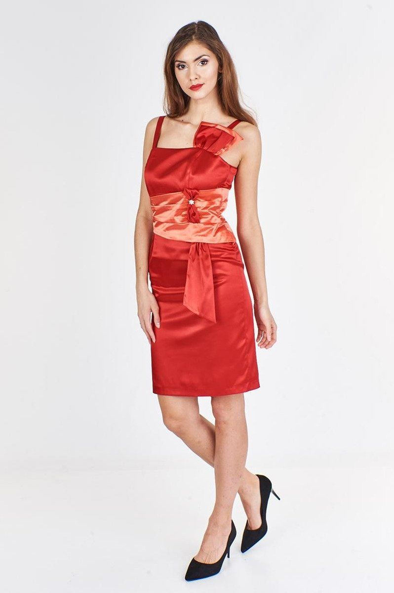 Sukienka FSU998 CZERWONY MOCNY ŁOSOSIOWY