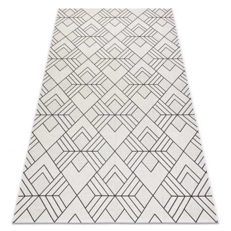 Dywan SZNURKOWY SIZAL FLAT 48731960 Kwadraty, romby, geometryczny krem / szary 80x150 cm
