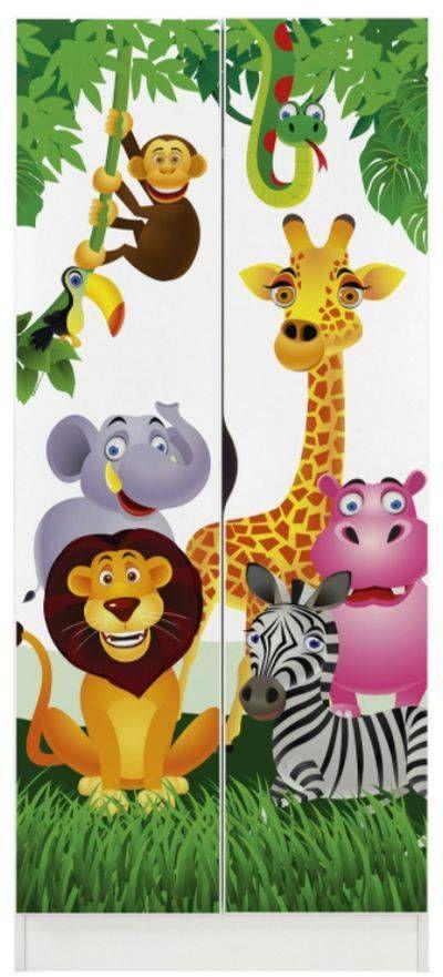 Drewniana szafa dwudrzwiowa Zwierzęta, meble do pokoju dziecka