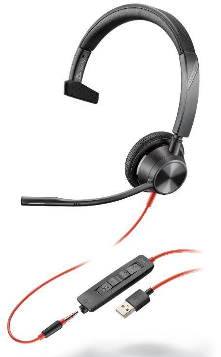 Plantronics Blackwire 3315 - przewodowy zestaw słuchawkowy UC Mono z USB-A