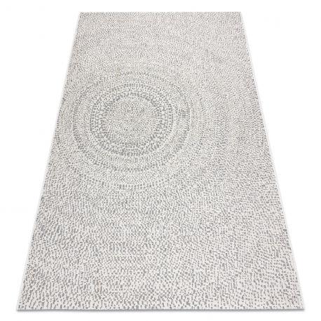 Dywan SZNURKOWY SIZAL FLAT 48832367 Koła, kropki krem / szary 80x150 cm