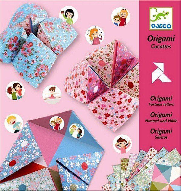 """Pastelowe, wzorzyste arkusze (24 sztuki) z naklejkami (192 sztuki) - zestaw do origami i zabawy z przyjaciółmi """"Wyzwanie"""", DJ08773-Djeco, zabawki kreatywne"""