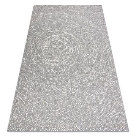 Dywan SZNURKOWY SIZAL FLAT 48832637 Koła, kropki szary / krem 80x150 cm