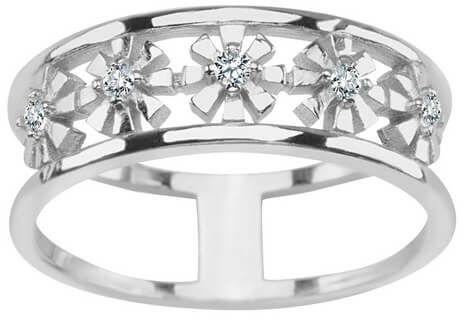 Staviori pierścionek srebrny 0,925 kwiaty z cyrkoniami