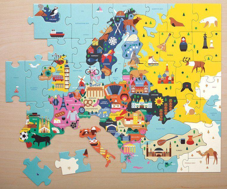Tekturowe puzzle Mapa Europy z elementami w kształcie państw 70 el MP51943-Mudpuppy, puzzle dla dzieci