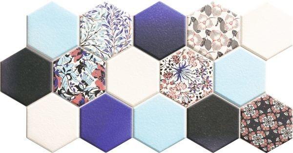 Hex Nouveau Blue 26,5x51 heksagony na podłogę