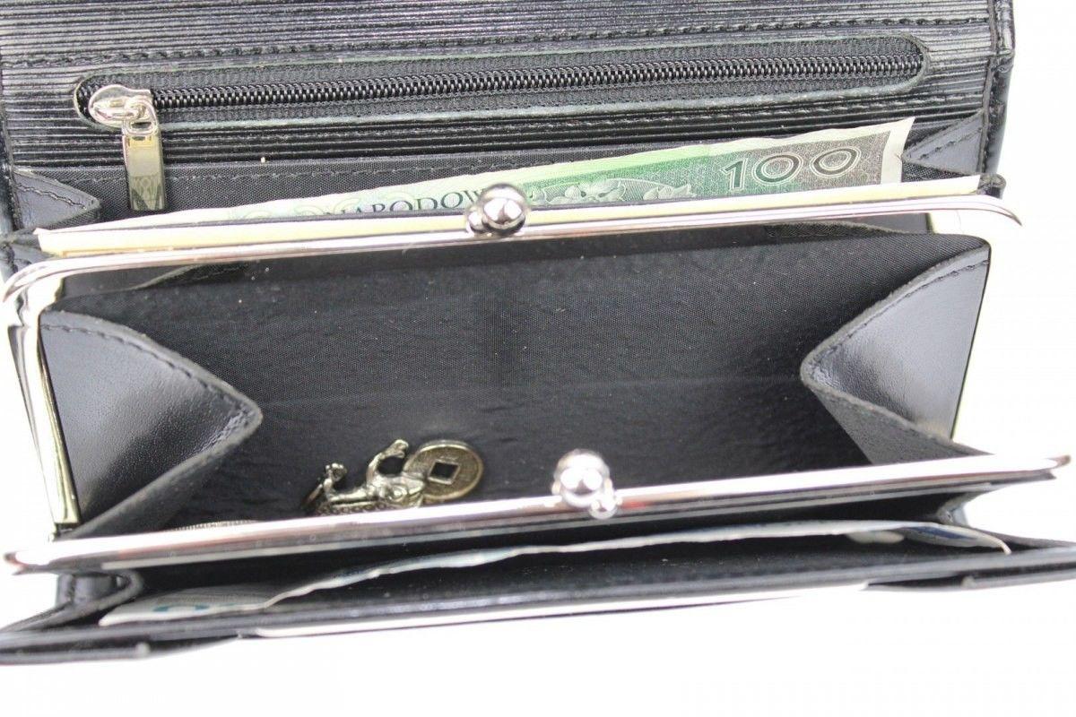 Portfel Damski WILMAR (PL) Klamra 16 cm Skóra Włoska Z Kartami P15 Wstawka