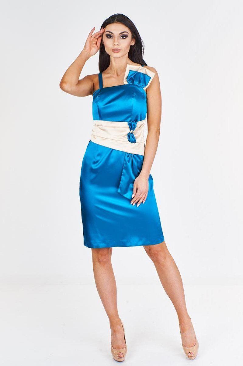 Sukienka FSU998 NIEBIESKI MORSKI SZAMPAN