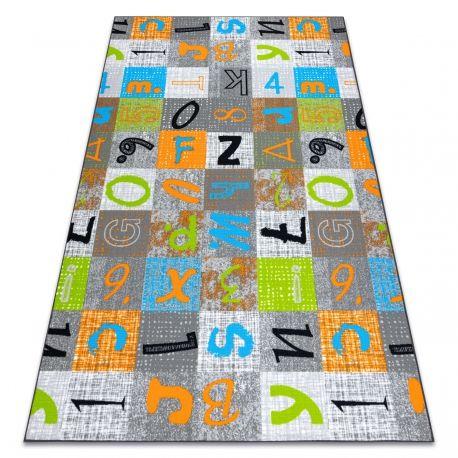 Dywan dla dzieci JUMPY Patchwork, Litery, Cyfry szary / pomarańczowy / niebieski 100x150 cm