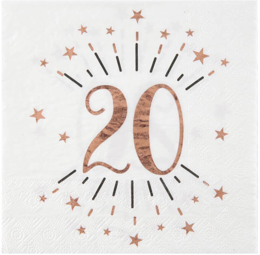 Serwetki na dwudzieste urodziny Sparkling różowe złoto - 33 cm - 10 szt.