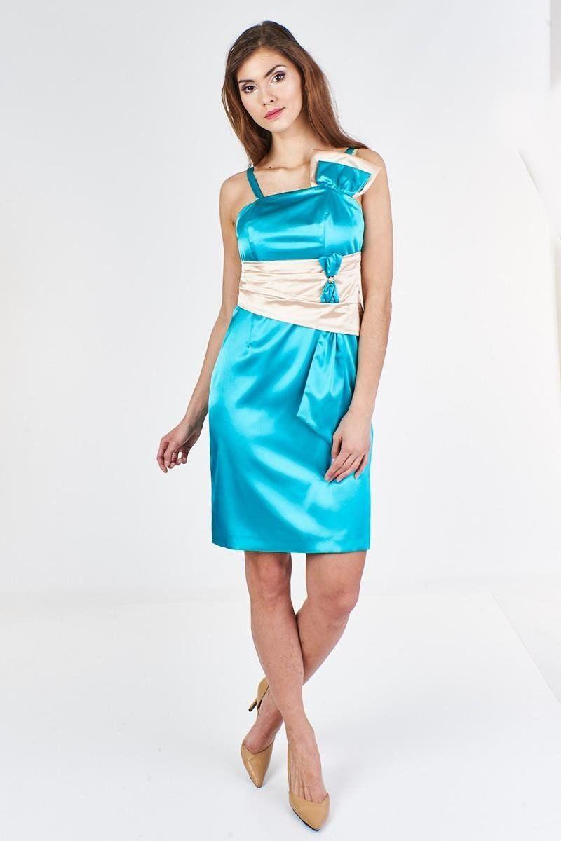 Sukienka FSU998 TURKUSOWY ŚREDNI SZAMPAN