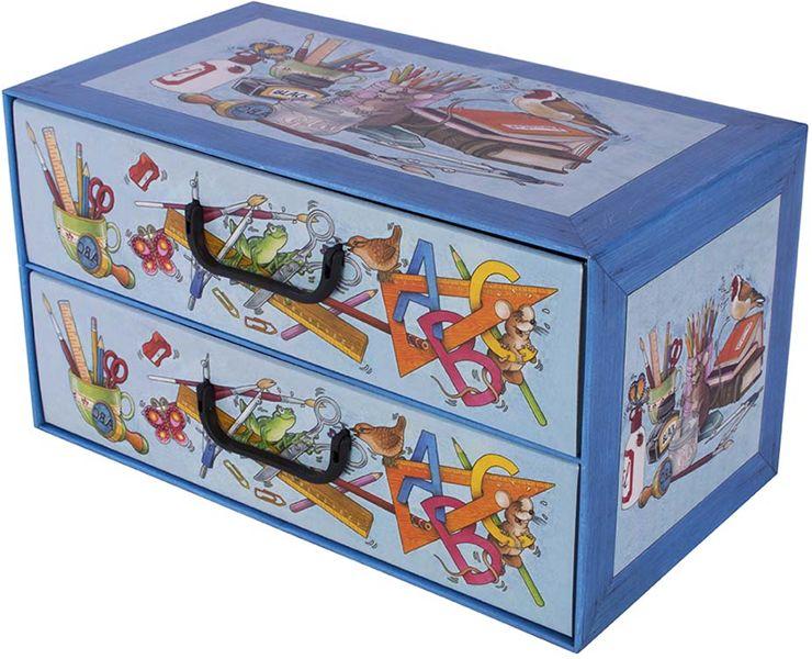 Pudełko kartonowe 2 szuflady poziome SZKOŁA ALFABET