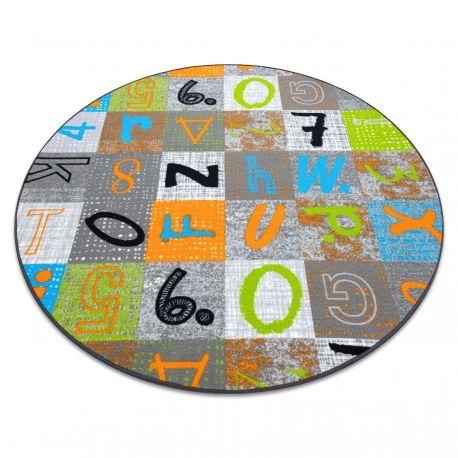 Dywan dla dzieci JUMPY koło Patchwork, Litery, Cyfry szary / pomarańczowy / niebieski koło 100 cm