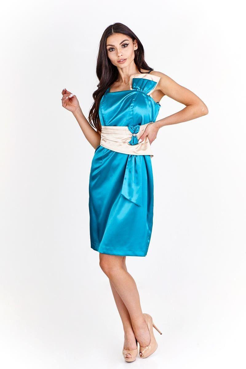 Sukienka FSU998 ZIELONY MORSKI SZAMPAN