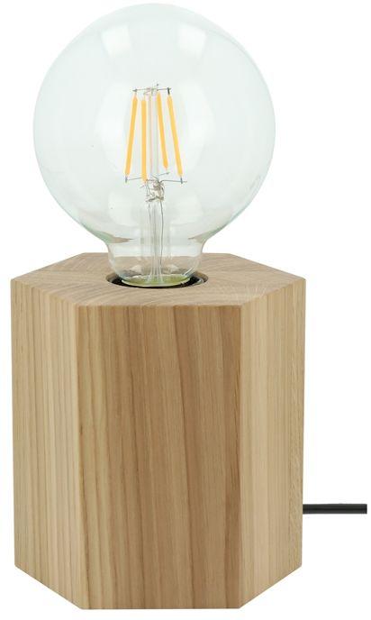 Spot Light 7011174 Hexar lampa stołowa drewno dąb olejowany/antracyt/w oplocie 1xE27 25W 12cm