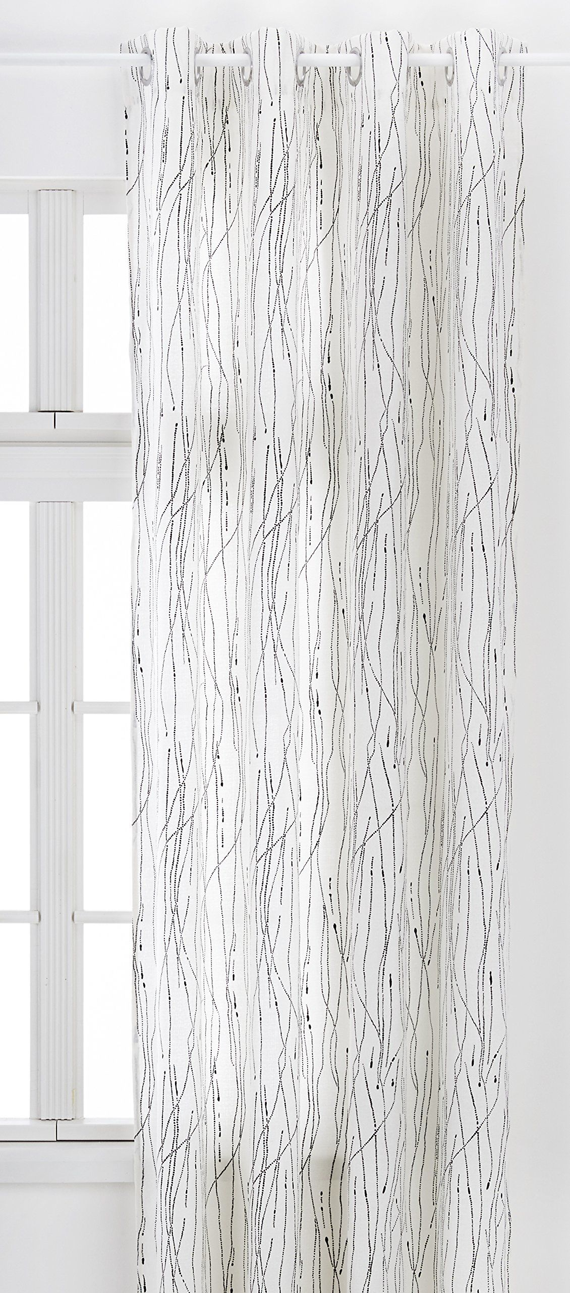 Home Maison 09399 8-al zasłony płótno zadrukowane okrągłe oczka 140 x 260 cm, Ivoire/Argent, 140 x 260