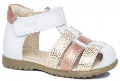 EMEL E1078-30 ROCZKI sandałki sandały profilaktyczne dziecięce biały złoty