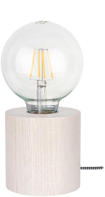 Spot Light 7071432 Trongo Round lampa stołowa walec drewno dąb bielony/czarno-biały 1xE27 25W 10cm