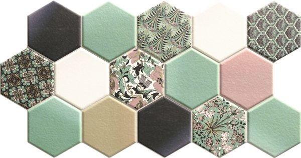 Hex Nouveau Green 26,5x51 heksagony na podłogę
