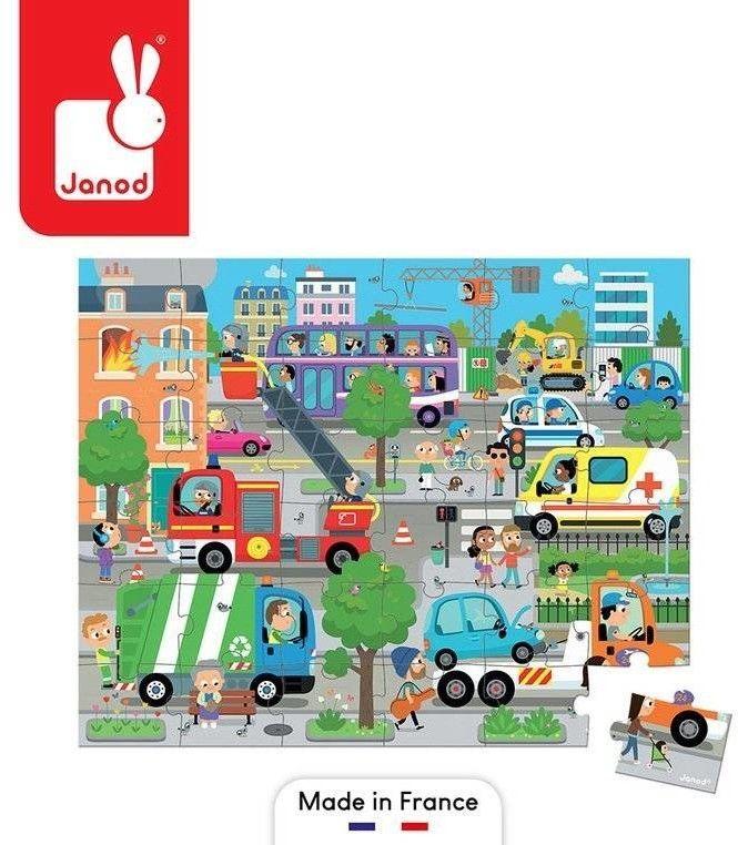 Janod Puzzle w Walizce Miasto 36 Elementów 4+,