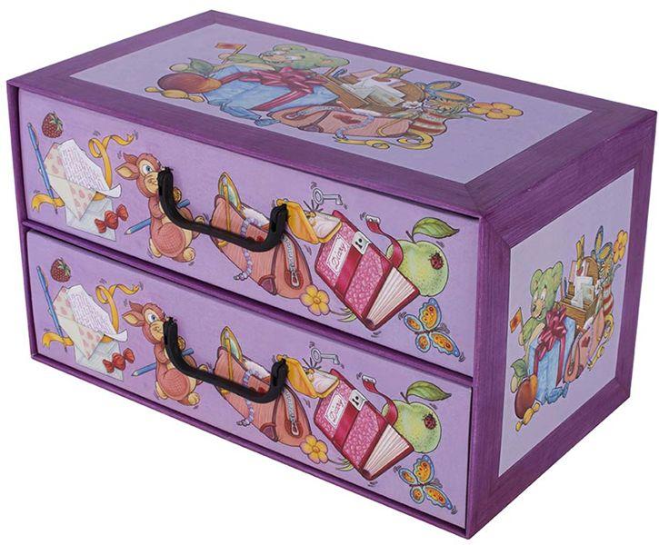 Pudełko kartonowe 2 szuflady poziome SZKOŁA PRZYBORY