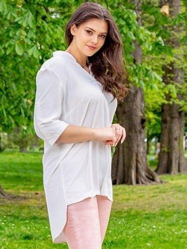 Tunika elegancka GOSIA ze stójką dłuższy tył biała