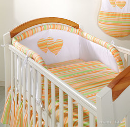 MAMO-TATO pościel 2-el Serduszka w paseczkach marchewkowych do łóżeczka 70x140cm