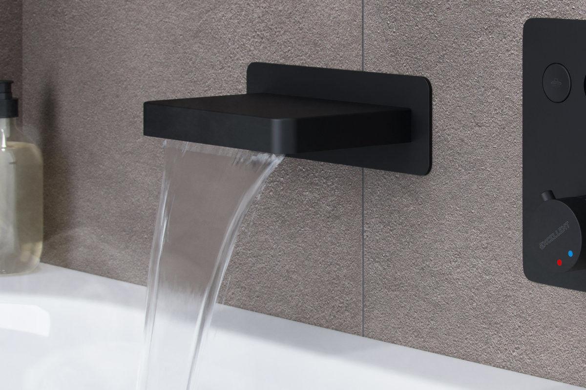 Excellent Wylewka prysznicowo-wannowa kaskadowa KROTOS czarna AREX.8025BL