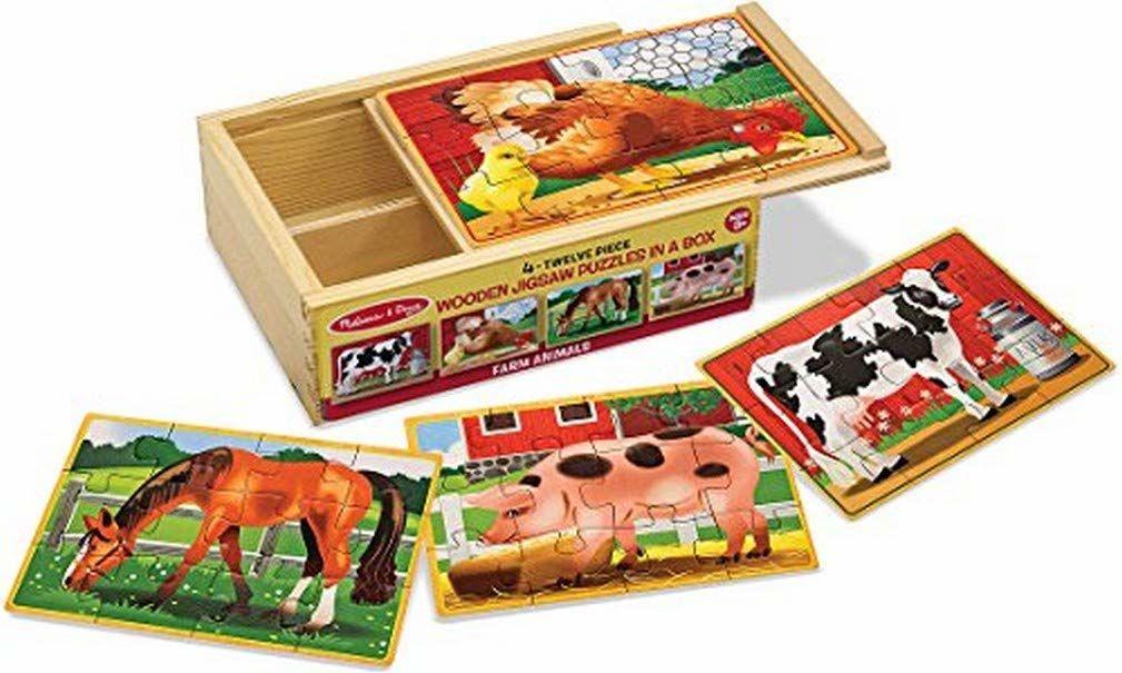 Melissa & Doug Zwierzęta gospodarskie łamigłówki w pudełku łamigłówki drewniana zabawka 3+ prezent dla chłopca lub dziewczynki