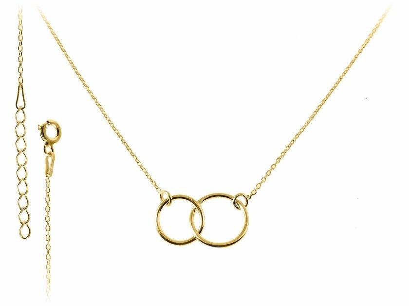 Pozłacany srebrny naszyjnik gwiazd celebrytka kółka kółeczka ring srebro 925 FN246N